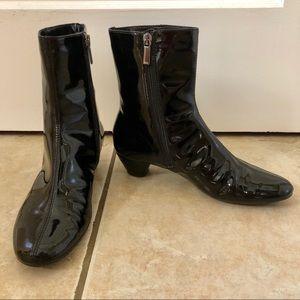 Aquatalia Harp Black Patent Ankle Boots